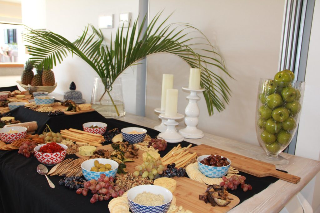 Corporate catering Sunshine Coast - platters of cheese, fresh fruit and assorted meats